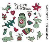 cute christmas collection | Shutterstock .eps vector #736839898