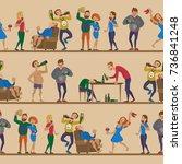 drunk cartoon people vector... | Shutterstock .eps vector #736841248