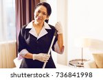 charming foreign maid... | Shutterstock . vector #736841998