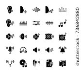 icon set of acoustics and sound ... | Shutterstock .eps vector #736842880