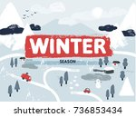 flat vector winter snowy... | Shutterstock .eps vector #736853434