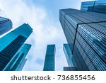 low angle view of skyscrapers... | Shutterstock . vector #736855456