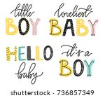it's a boy lettering. cute... | Shutterstock .eps vector #736857349