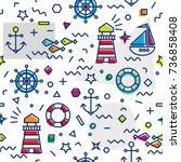 seamless marine pattern in thin ... | Shutterstock .eps vector #736858408