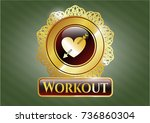 golden emblem with heart with... | Shutterstock .eps vector #736860304