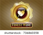 gold shiny emblem with heart... | Shutterstock .eps vector #736860358