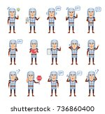 set of medieval knight... | Shutterstock .eps vector #736860400