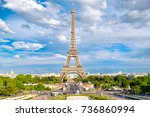 the eiffel tower on a beautiful ... | Shutterstock . vector #736860994