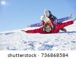 ski  snow sun and fun   happy... | Shutterstock . vector #736868584