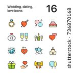 colored wedding  dating  love... | Shutterstock .eps vector #736870168