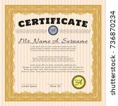 orange certificate of... | Shutterstock .eps vector #736870234