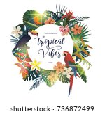 exotic tropical banner  logo ... | Shutterstock .eps vector #736872499
