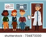 people line at hospital and... | Shutterstock .eps vector #736873330