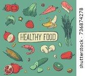 healthy food menu design. hand... | Shutterstock .eps vector #736874278