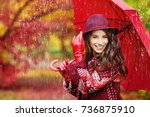 young woman with autumn leaves... | Shutterstock . vector #736875910