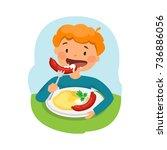 cute boy eats tasty and healthy ... | Shutterstock .eps vector #736886056