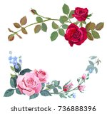 Stock vector collection of branch curly pink red rose bouquet with blue flowers forget me nots buds green 736888396