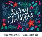 festive background with merry... | Shutterstock .eps vector #736888510