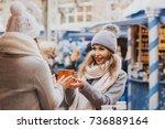 two girls best friends giving...   Shutterstock . vector #736889164
