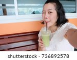 selfie asian woman  self... | Shutterstock . vector #736892578