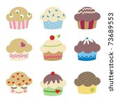 set of 9 delicious muffins | Shutterstock .eps vector #73689553