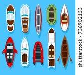 top view on fisherman boats on... | Shutterstock .eps vector #736902133