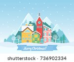 vector flat winter christmas... | Shutterstock .eps vector #736902334