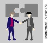 business man shaking hands... | Shutterstock .eps vector #736904473