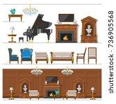 vip vintage interior furniture... | Shutterstock .eps vector #736905568