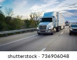 sleeper truck on highway | Shutterstock . vector #736906048