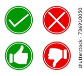 set red and green icons buttons.... | Shutterstock .eps vector #736910050