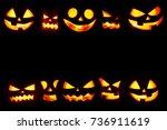 many halloween pumpkin glowing...   Shutterstock . vector #736911619