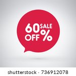 60  offer label sticker  sale... | Shutterstock .eps vector #736912078