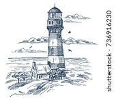 sketch of lighthouse near