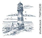 sketch of lighthouse near... | Shutterstock .eps vector #736916230