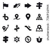 16 vector icon set   flag  up... | Shutterstock .eps vector #736916944