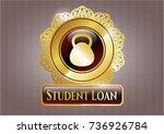 gold emblem with kettlebell... | Shutterstock .eps vector #736926784