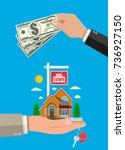 suburban family house set in...   Shutterstock . vector #736927150