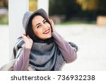beautiful young cute girl... | Shutterstock . vector #736932238
