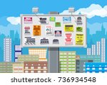 various tear off papers ad on... | Shutterstock .eps vector #736934548