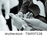 baby hand hold mother and father | Shutterstock . vector #736937128