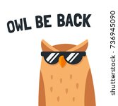 funny cartoon owl with... | Shutterstock .eps vector #736945090
