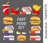 fast food set. burger  fries ... | Shutterstock .eps vector #736946770