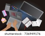 business project. view from... | Shutterstock .eps vector #736949176
