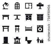 16 vector icon set   table lamp ... | Shutterstock .eps vector #736950406