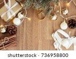 merry christmas. gift.... | Shutterstock . vector #736958800