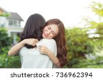 girl embracing to comfort to... | Shutterstock . vector #736962394