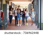 teenager school kids running in ...   Shutterstock . vector #736962448