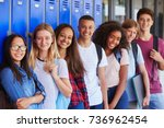 teenage school kids smiling to... | Shutterstock . vector #736962454
