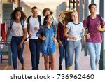 teenager school kids running in ...   Shutterstock . vector #736962460